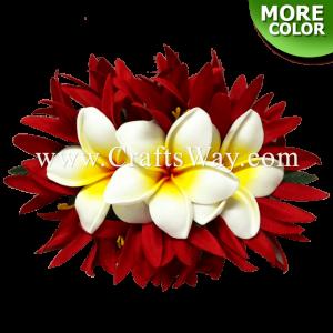 CMM-093 Custom Made Flower Hairpiece, Plumeria (UA) & Spider Lily Hair Clip
