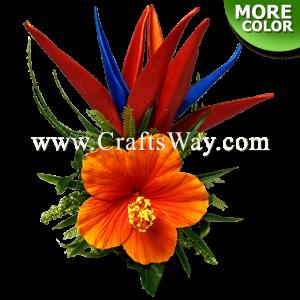 CMM-097 Custom Made Flower Hairpiece, Hibiscus & Bird of Paradise Hair Clip