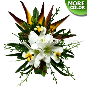 CMM-098 Custom Made Flower Hairpiece, Tiare & Heliconia Hair Clip