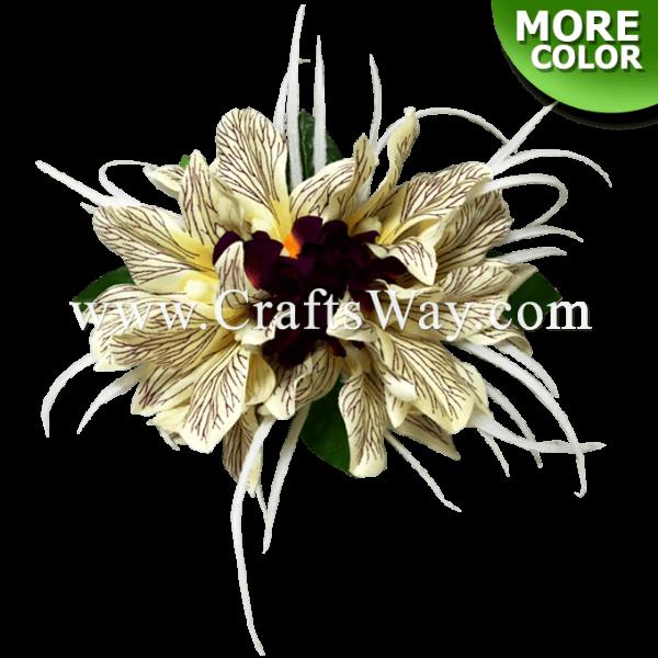 CMM-099 Custom Made Flower Hairpiece, Silk Orchid Type E Hair Clip