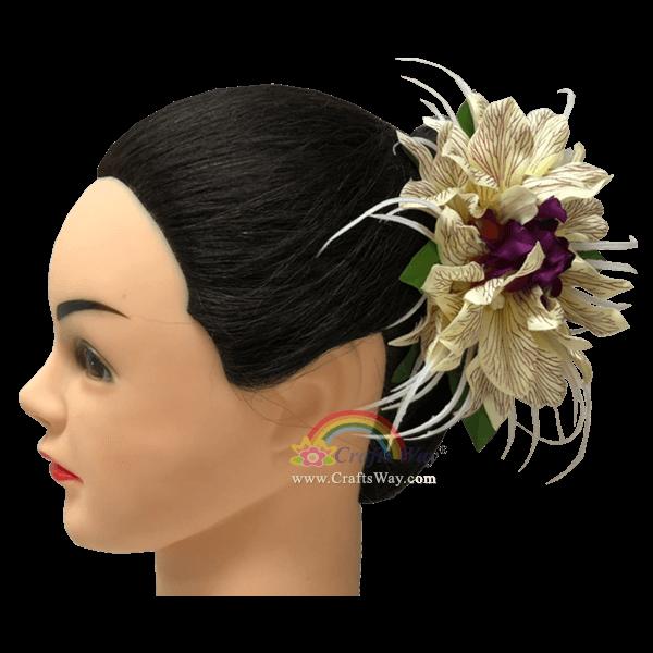 CMM-099 Custom Made Flower Hairpiece, Silk Orchid Type E Hair Clip Sample
