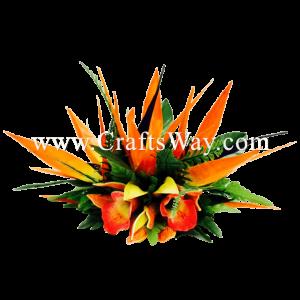CMXL-002 Custom Made Flower Hairpiece, Bird of Paradise & Cymbidium Hair Clip