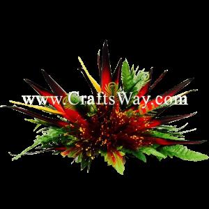 CMXL-004 Custom Made Flower Hairpiece, Lehua & Bird of Paradise Hair Clip