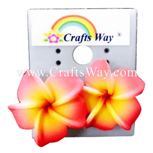 GFE1-03 Artificial Foam Flower, Plumeria Earrings #03 Pink and yellow with a red center