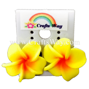 GFE1-05 Artificial Foam Flower, Plumeria Earrings #05 Yellow with red center