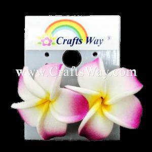 GFE1-07 Artificial Foam Flower, Plumeria Earrings #07 Purple with yellow center