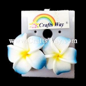 GFE1-08 Artificial Foam Flower, Plumeria Earrings #08 Blue with yellow center
