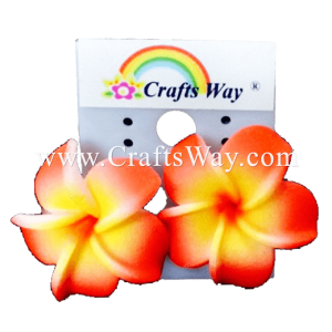 GFE1-10 Artificial Foam Flower, Plumeria Earrings #10 Red and yellow with red center