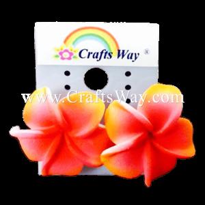 GFE1-13 Artificial Foam Flower, Plumeria Earrings #13 Pink with yellow edge