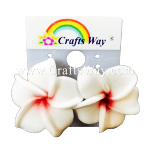 GFE1-15 Artificial Foam Flower, Plumeria Earrings #15 White with red center