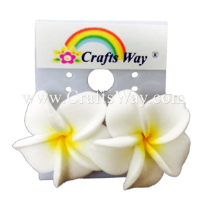 GFE1-16 Artificial Foam Flower, Plumeria Earrings #16 White with yellow center