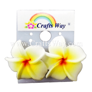 GFE1-19 Artificial Foam Flower, Plumeria Earrings #19 Yellow with red center