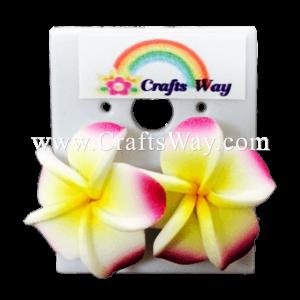 GFE1-21 Artificial Foam Flower, Plumeria Earrings #21 Pink with yellow center