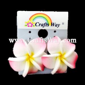 GFE1-23 Artificial Foam Flower, Plumeria Earrings #23 Light pink with yellow center