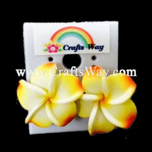 GFE1-24 Artificial Foam Flower, Plumeria Earrings #24 Yellow & Orange with yellow center