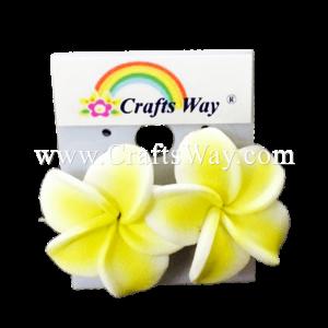 GFE1-28 Artificial Foam Flower, Plumeria Earrings #28 Light yellow