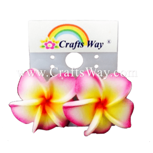 GFE1-30 Artificial Foam Flower, Plumeria Earrings #30 Pink & Yellow with red center