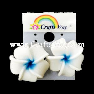 GFE1-31 Artificial Foam Flower, Plumeria Earrings #31 White with blue center
