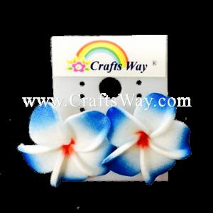 GFE1-32 Artificial Foam Flower, Plumeria Earrings #32 Dark blue with red center