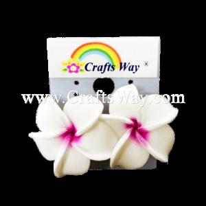 GFE1-34 Artificial Foam Flower, Plumeria Earrings #34 White with purple center