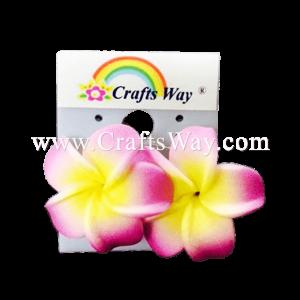 GFE1-38 Artificial Foam Flower, Plumeria Earrings #38 Pink with yellow center