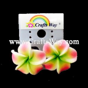 GFE1-39 Artificial Foam Flower, Plumeria Earrings #39 Pink with green center