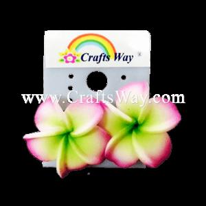 GFE1-40 Artificial Foam Flower, Plumeria Earrings #40 Purple with green center