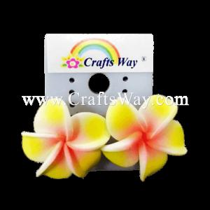 GFE1-41 Artificial Foam Flower, Plumeria Earrings #41 Yellow with pink center