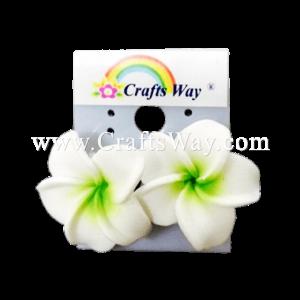 GFE1-42 Artificial Foam Flower, Plumeria Earrings #42 White with green center