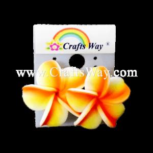 GFE1-45 Artificial Foam Flower, Plumeria Earrings #45 Orange and yellow