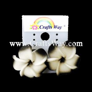 GFE1-46 Artificial Foam Flower, Plumeria Earrings #46 Black with white
