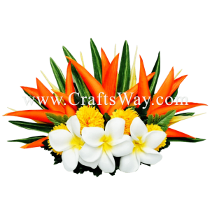 HCL-002 Custom Made Flower Hairpiece, Plumeria & Heliconia Hair Comb