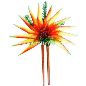 HO-301 Custom Made Flower Hairpiece, Heliconia & Lehua Hair Stick