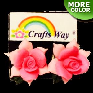 VL-035 Custom Made Flower Hairpiece, Rose Earrings