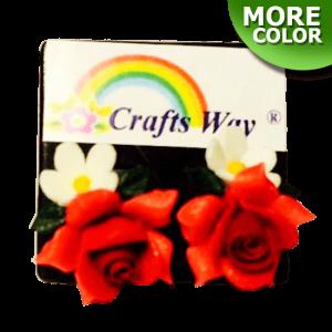 VL-036 Custom Made Flower Hairpiece, Rose & Daisy Earring