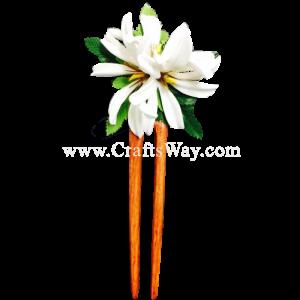 WD2F-302 Custom Made Flower Hairpiece, 3 Tiares (J) Hair Stick