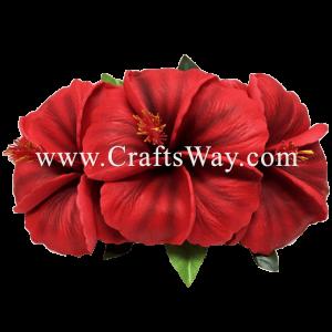 XMS-023 Custom Made Flower Hairpiece, Hibiscus (O) Hair Clip