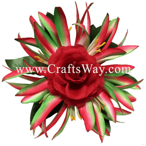 XMS-026 Custom Made Flower Hairpiece, Rose & Spider Lily Hair Clip