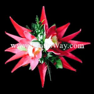 XMS-040 Custom Made Flower Hairpiece, Cymbidium & Heliconia Hair Clip