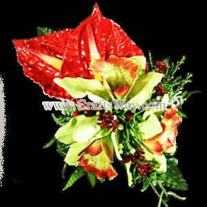 XMS-044 Custom Made Flower Hairpiece, Cymbidium & Anthurium Hair Clip