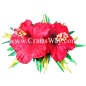 XMS-045 Custom Made Flower Hairpiece, Hibiscus & Heliconia Hair Clip