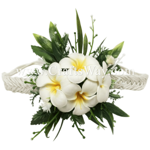 PM-301-A Wedding & Special Event, Wrist Corsage - Plumeria (White)