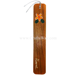 BK-W109 Plumeria Hawaiian Hand painted Wooden Bookmarks