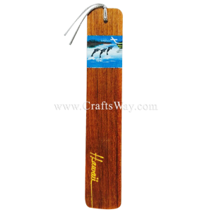 BK-W111 Dolphin Hawaiian Hand painted Wooden Bookmarks