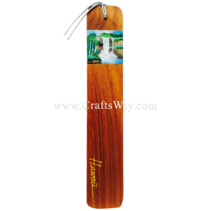 BK-W112 Waterfall Hawaiian Hand painted Wooden Bookmarks