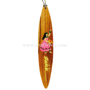BK-W208 Female Hula Dancer Hawaiian Hand painted Wooden Bookmarks