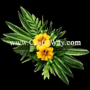 CMM-100 Custom Made Flower Hairpiece, Pua Kenikeni Hair Clip, Yellow Foam pua Keni Keni