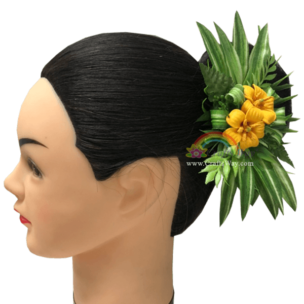 CMM-100 Custom Made Flower Hairpiece, Pua Kenikeni Hair Clip, Yellow Foam pua Keni Keni Sample