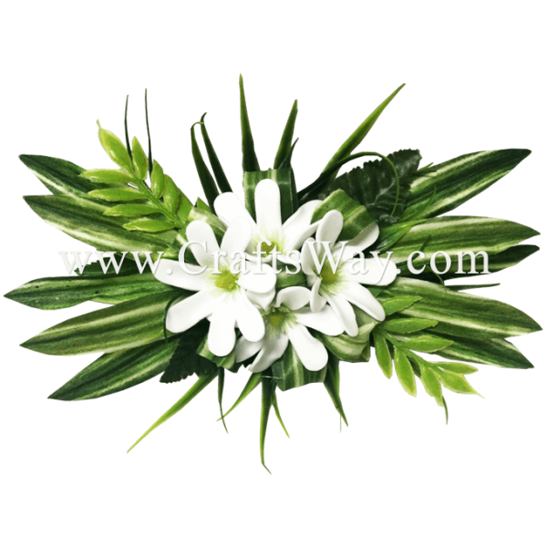 CMM-101 White Foam Tiare (A) Hair Clip, Custom Made Hair Clip, Made in Hawaii by CraftsWay