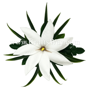 CMS-065 Custom Made Flower Hairpiece, Tiare (BA) Hair Clip, White Foam Tiare